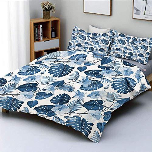 Juego de funda nórdica, rama de árbol de palma y mango e imagen de flor de hibisco hawaiano Juego de cama decorativo de 3 piezas con 2 fundas de almohada, azul claro, turquesa y azul oscuro, el mejor