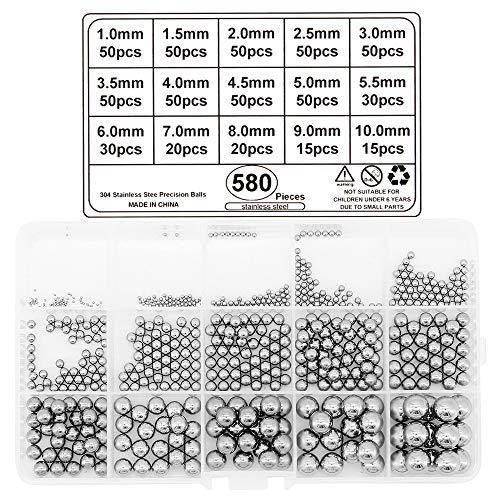 Yuhtech Kugellager Kugeln, 580 Pcs Edelstahl Metallkugeln Stahlkugeln Kugellager aus Edelstahl für Fahrrad Rad Ersatzteile