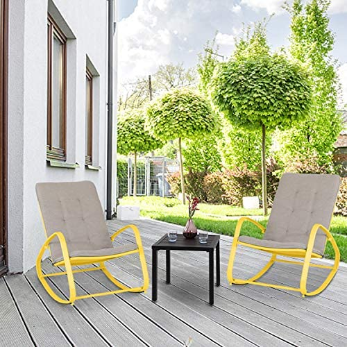 Best PHI VILLA 3 Piece Bistro Set Patio Rocking Chairs Outdoor Furniture Padded Warm Gray Cushions, Foldi