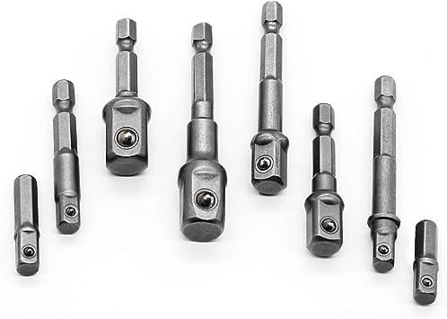 "8pcs Socket Adapter Set Hex Shank to 1//4/"",3//8/"",1//2/"" Impact Driver Drill Bits Bar"