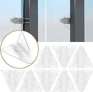 Sliding Door Locks for Baby Safety, Maveek 8 Pack Clear Childproof Lock for Sliding Closet Cupboard Bathroom Patio Kitchen Shutters Doors Windows, No Tools Needed