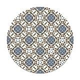 Panorama Alfombra Vinílica Redonda Hidráulico Oriental Mosaico Azul 100x100 cm - Alfombra Cocina Vinilo - Alfombra Salón Antideslizante e Ignífuga - Alfombras Grandes - Alfombras PVC