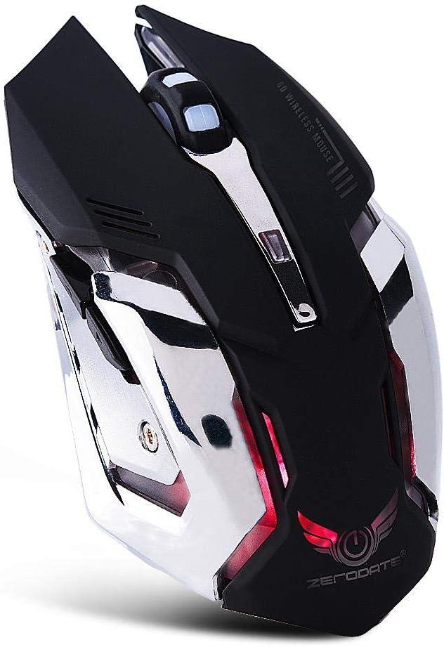 Ratón inalámbrico, 2.4G USB Wireless Gaming Ergonomía Ratón óptico Ratones 2400DPI con Adaptador de Corriente USB, para PC Computadora/Laptop/Oficina(Negro)