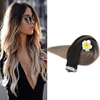 Full Shine 22 inch Ombre Tape in Extensions Dip Dyed Hair Color #1B Off Black Fading to Dirty Blonde #18 Balayage Remy Hair Skin Weft Extensions 50gram 20 Pcs