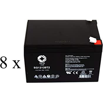 SPS Brand 12V 12Ah Replacement Battery for Schumacher Electric IP-125 Instant Power Jump Starter (8 Pack)
