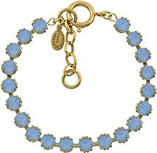 La vie Parisienne Round Tennis Bracelet, Catherine Popesco Gold Plated, Air Blue Opal 8