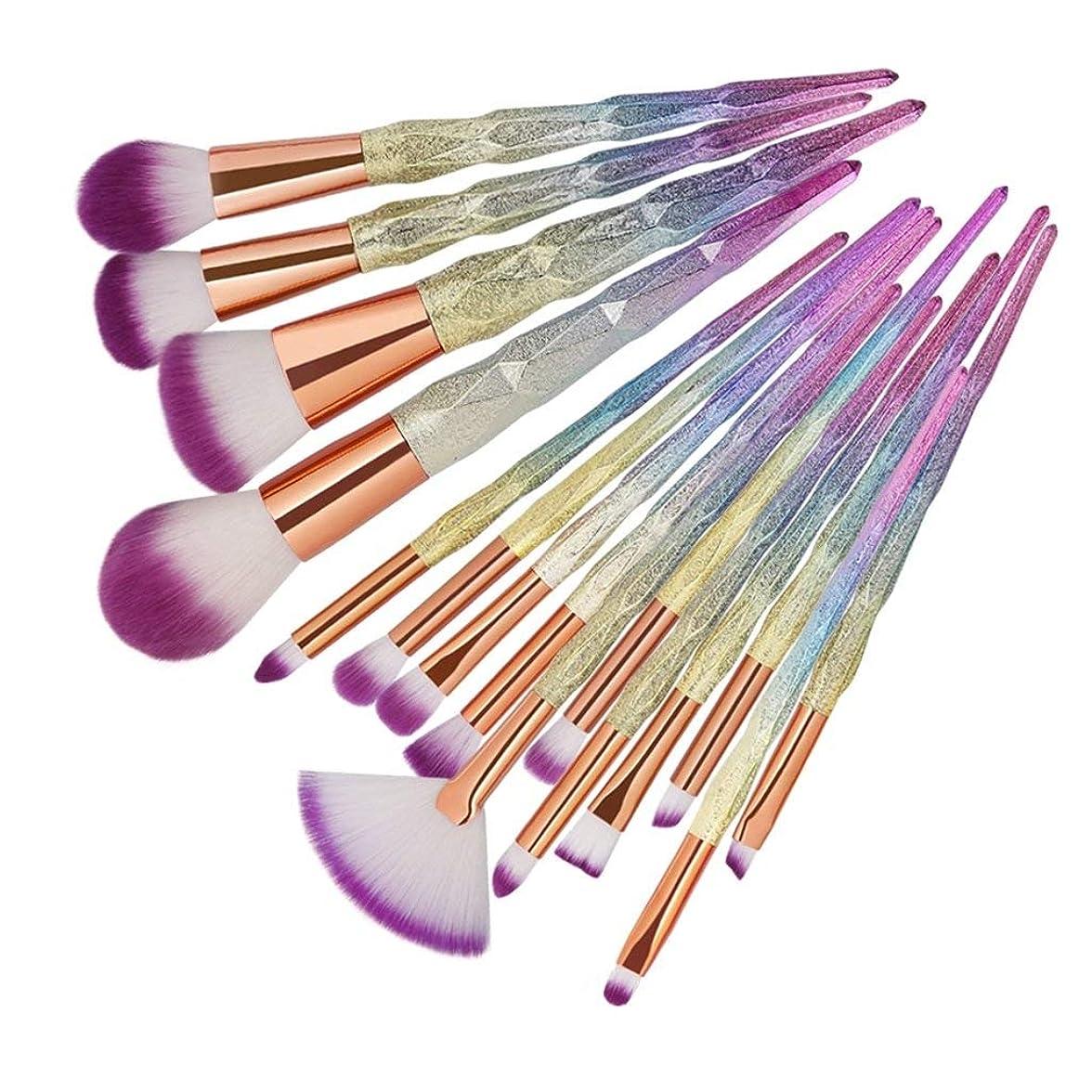 平らなプラグ特殊15個の高度な化粧ブラシセット15個のダイヤモンドハンドルの化粧ブラシブラシ(色:3Dのカラフルなパターン)