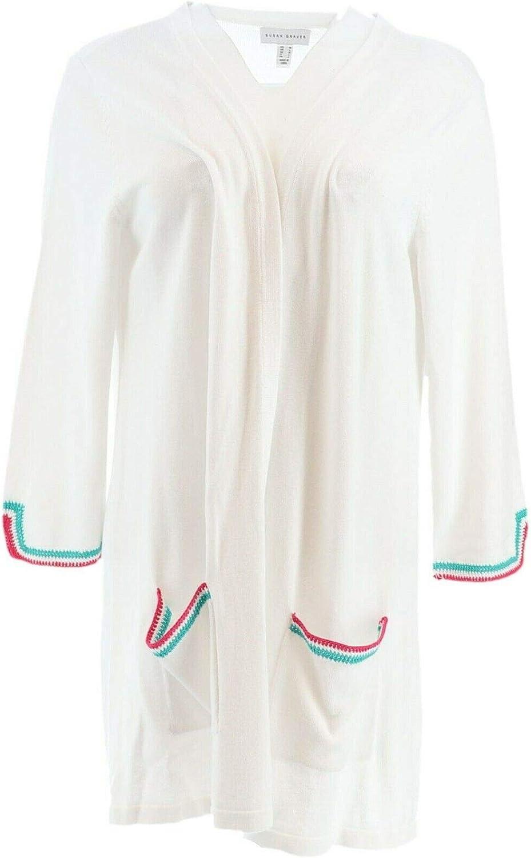 Susan Graver Cotton Rayon Sweater Cardigan Crochet Trim A351017