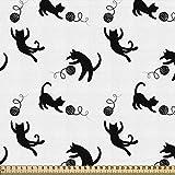 ABAKUHAUS Katze Stoff als Meterware, Nach Yarn Balls jagen,
