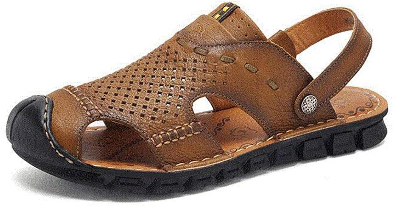Men's Sandals Summer Handmade Baotou Beach shoes Fisherman shoes Casual shoes,Khaki,40
