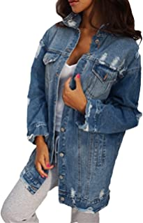 05a2d1a2e6 Scothen Manteaux Base pour Femme Automne Hiver Jeans Veste Vintage Manches  Longues Loose Girls Jeans Manteau