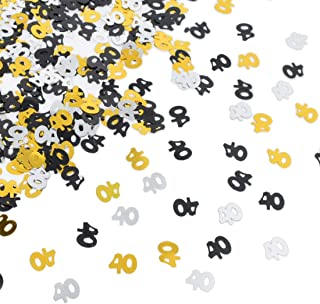 Number 40 Confetti Shiny Table Confetti for 40th Birthday Anniversary Party Decoration, Black Gold,Silver, 1.59 Oz
