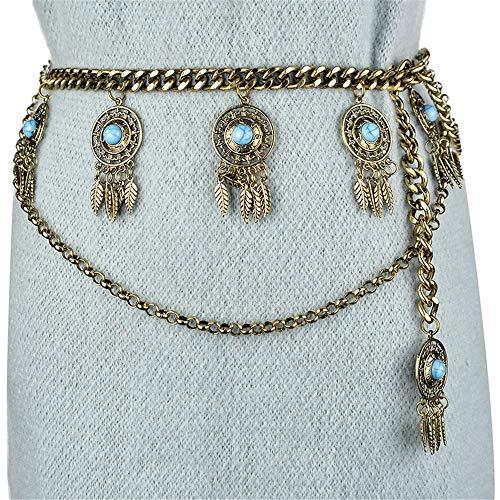 Gfdsase Cintura de Las Mujeres Cadena de la Cintura con Tachuelas Borla Cintura Falda Salvaje Cadena de la Cintura Casual Wear Cinturón (Color : Oro)