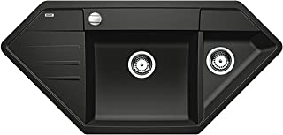 BLANCO Lexa 9 E, Küchenspüle, Granitspüle aus Silgranit PuraDur, 1 Stück, anthrazit-schwarz, 515104