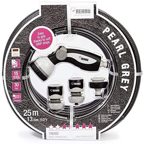 REHAU Gartenschlauch in trendigem Design Pearl Grey 1/2 Zoll 25m: besonders griffig, Set inkl. Gartenbrause + Anschlussteile