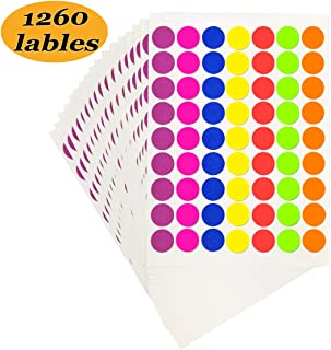 Pack of 1260 1-inch Round Color Coding Labels Circle Dot Stickers,7 Bright Neon Colors,Print or Write 8.5