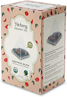 Yikfong Organic Tea Rose Black, 20 Tea Bags, Black Tea Joined with Real Rose Petals in Triangle Filter Tea Bag