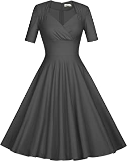 Women's 50s Vintage Short Sleeve Pleated Swing Dress