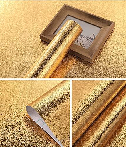 Hode Golden Küchenfolie Ölbeständige Folie Selbstklebend Hitzebeständige Aluminium Klebefolie für Arbeitsplatte Küchenwand Küchenschrank 40X300cm
