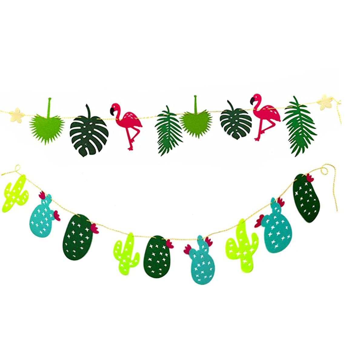 HH-Eason 2Pcs Flamingo Cactus Banner Hawaii Luau Party Supplies Tropical Leaves Garland Room Festival Decoration Accessory for Summer children Birthday Non-woven Wedding Plant Theme Pennant