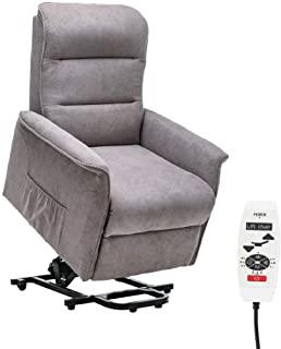 Power Lift Chair Recliner Massage Heated Reclining Sofa Chair for Elderly Home Living Room Furniture Single Lounger Seating Electric Fabric Upholstered Chair with Remote Control (Grey)