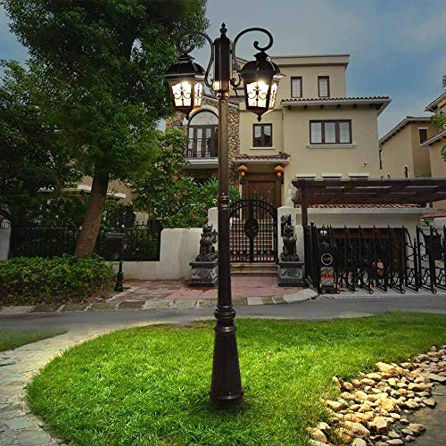 XXLYY Luz de calle de poste alto creativo retro E27 Luz de poste de doble cabeza Iluminación de patio Decoración Luz de poste de aluminio Impermeable Resistente al calor Luces de calle comunitarias IP