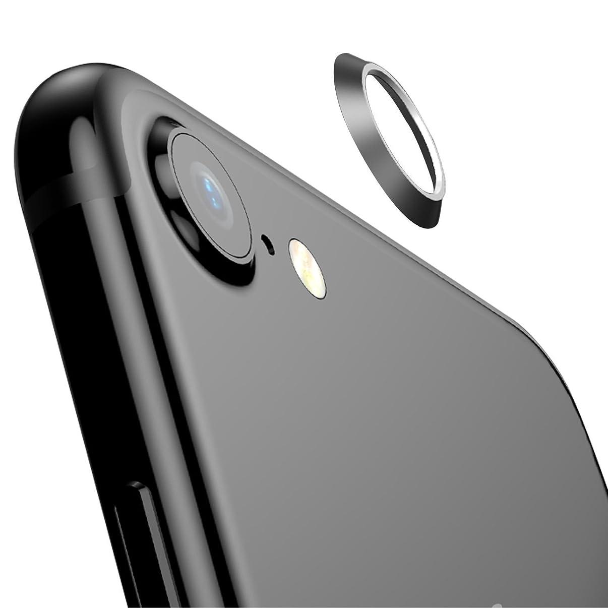 誇りに思う記念碑的な下線【2枚セット】 ElekFX iPhone8 / iPhone7 カメラレンズ保護リング レンズ保護リング レンズガード アルミ 合金素材 傷防止 一体感抜群 アイフォン8/アイフォン7対応(黒)