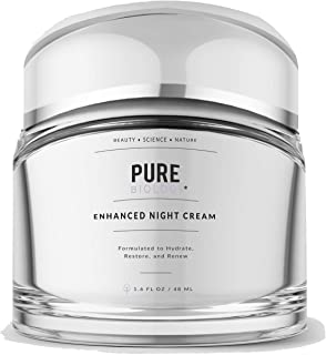 Pure Biology Premium Night Cream Face Moisturizer with Retinol, Hyaluronic Acid & Anti Aging, Wrinkle Firming Complexes – Collagen Boosting Skin Care for Men & Women, 1.6 oz