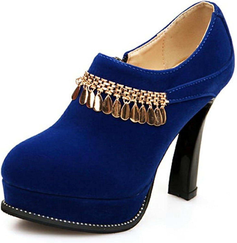 DecoStain Women's Metallic Pendant Ankle High Zipper Booties