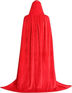 Halloween Velvet Witch Cloak Witches Costume Adults Hooded Capes Full Length Witch Cape for Women, Men
