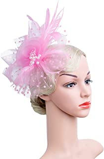 4f1da06e1a1 Czioe Flower Cocktail Tea Party Headwear Feather Fascinators Top Hat for  Girls and Women