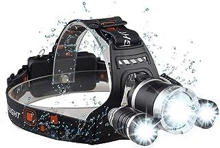 Brightest LED Headlamp Flashlight 6000 Lumen, BOSICAN CREE LED Rechargeable Battery 4 Modes, Headlight Waterproof Hands-fr...
