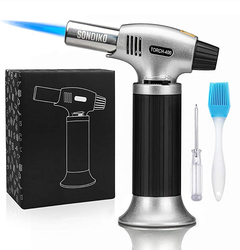 Sondiko Culinary Torch Blow Torch Refillable Kitchen Butane Torch Lighter With Safety Lock And Adjustable Flame For Desserts Creme Brulee BBQ And Baking Butane Gas Not Included
