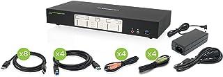 IOGEAR 4-Port 4K Dual View DisplayPort Kvmp with USB 3.0 Hub and Audio W/Full Set of Cables (GCS1944 TAA Compliant)