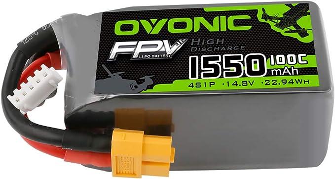 232 opinioni per OVONIC FPV Batteria Lipo 4S 1550mAh 100C 14.8V Lipo con connettore XT60 per FPV
