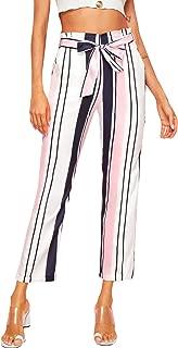 Women's Striped High Elastic Waist Slim Fit Casual Long Pants