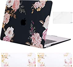 MOSISO MacBook Air 13 inch Case 2020 2019 2018 Release A2179 A1932, Plastic Peony Hard Shell&Keyboard Cover&Screen Protector Only Compatible with MacBook Air 13 inch with Retina Display, Black