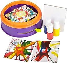 ArtCreativity Swirl Painting Kit for Kids, Magic Spin Art Machine Set with Spinning Wheel, 3 Paint Bottles, & 5 Cards, Fun...