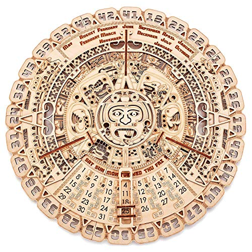 Wood Trick Mayan Wall Calendar 3D Wooden Puzzles for Adults and Kids to Build - 16' - Wooden Model Kit - Aztec Calendar