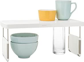 YouCopia Adjustable Kitchen Cabinet Shelf Organizer, 50090 , Plastic, White, H8.4 x W17.3 x D7.4 inches