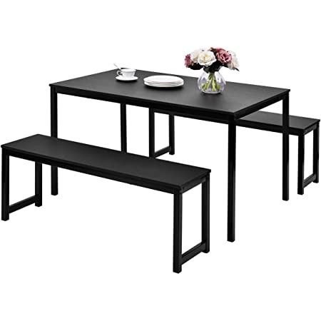 Wooden 3 Pcs Kitchen Dining Room Furniture For 4 Kitchen Small Bench Table Set Modern Studio Collection Table Set With 2 Beches Black Dinette Set Giantex Dining Table With Bench Home