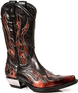 New Rock Boots Hommes Botte - Style 7921 S2 Rouge & Noir