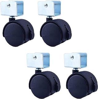 LYQQQQ 4 stuks meubelwielen met remmen, U-vormige beugel zwenkwiel, 70 kg laadvermogen, voor kinderschoenen, schoenenrekke...