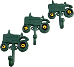 Rural Green Tractor Cast Iron Wall Hook 4 Inch (Set of 3)