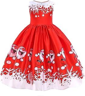 941897af23f HUAANIUE Robe de Princesse de Noël Robe de Cérémonie Fille Mariage Robes  Soirée sans Manches 2