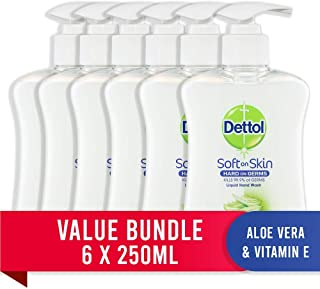 Dettol Liquid Hand Wash Aloe Vera Pump, 1.5L (6 x 250ml pack)