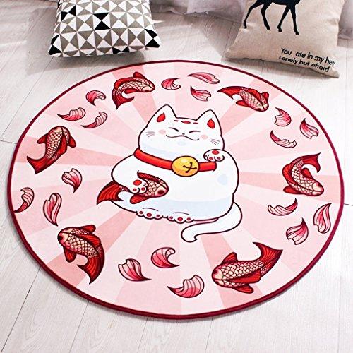 Good thing tapis Tapis rond de chaise d'ordinateur de tapis de bande dessinée antidérapante, tapis de tente de tapis de panier, tapis de chevet vert lavable (taille : Diameter 80cm)
