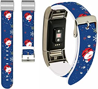 for Fitbit Charge 2 Strap,Ecute Replacement Band for Fitbit Charge 2 Leather Bands Strap with Metal Connectors- Cute Santa Claus Band