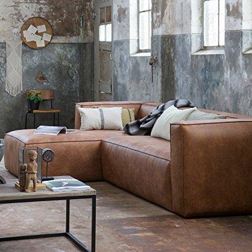 Maison ESTO Sofa-Ecksofa Links, Cognac, Breite: 305 cm Tiefe: 96/175 cm Höhe: 73 cm