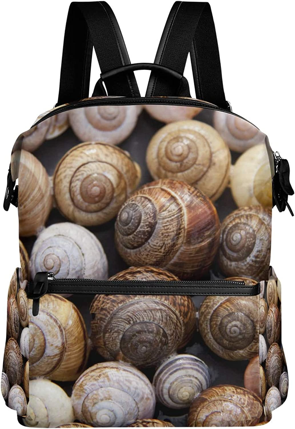 MONTOJ Clean Snail Shells Leather Travel Bag Campus Backpack